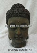 Wooden antique sitting Buddha head arts&crafts