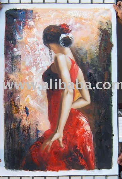 Red Bar Lady painting