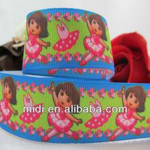 celebrate it ribbon Clear new 100%polyester Dora cute hair ribbons,printed grosgrain ribbon