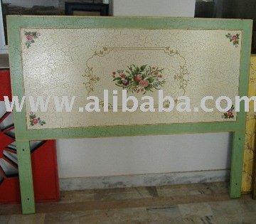 Pintado a mano de madera cabecera de la cama otras partes - Cabeceros de madera pintados ...