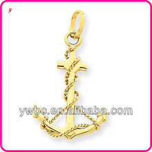 Newest anchor and anchor chain alloy golden charm wholesale