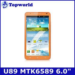 "U89 mtk6589 quad core android 4.2 smart phone 1GB RAM 4GB ROM 6.0"" screen"