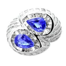 7. 12 Carat Diamond Tanzanite Ring in 14k White Gold $1827 Wholesale