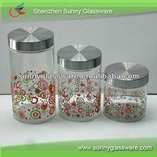 2013 Popular decalque cozinha vasilha de vidro com tampa