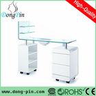 L shape glass manicure tables with fan