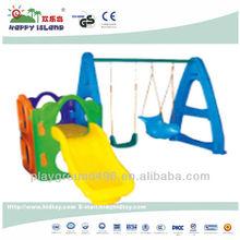 kids indoor playground slide and swing, plastic indoor playground combination