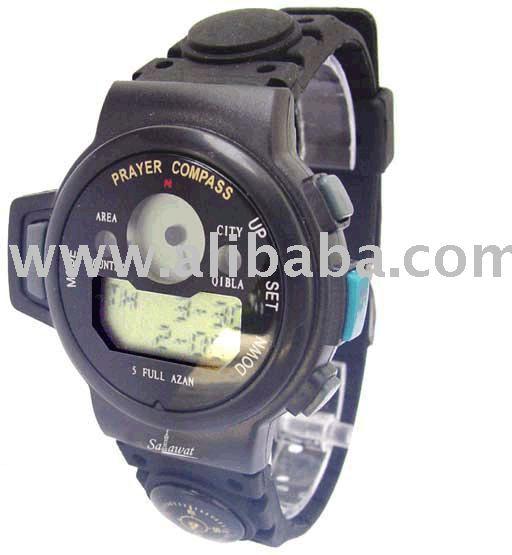 Qibla And Auto Azan Wrist Digital Watch For Muslim (Prayer Compass)