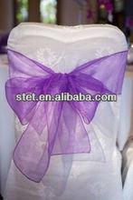 Fashional Wedding Purple Organza Chair Sashes