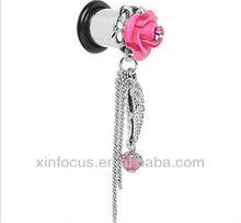 Pink Gem Rose Angel Wing Dangle Plug ear plug tunnel earrings