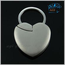 heart shaped metal custom photo frame key chain