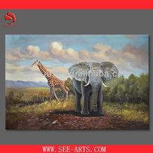 handmade elephant art painting, animal oil painting