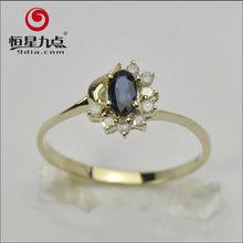 2013 New Design 9K Gold Natural Sapphire Diamond Ring