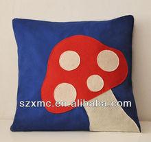Lovely mushroom comfortable velvet baby applique pillow