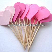 Birch Wooden Pink Heart Party Picks