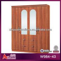 "W984-43 Modern 64"" MDF Padauk lock big 4 solid door 4-drawer big hanging area wooden bedroom wardrobe clothes closet Armoire"