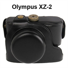 good quality wholesale price Digital Leather Camera Case Bag with Strap for Olympus XZ-2 (Black)