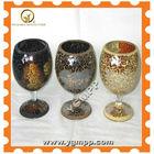Large Amber Mosiac candle holder, winde glass candlesticker MOSAIC, Orange Mirror Mosaic Glass Goblet Tealight Candlesticker