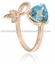STUNNING SWISS BLUE TOPAZ DIAMOND 14K YELLOW GOLD RING