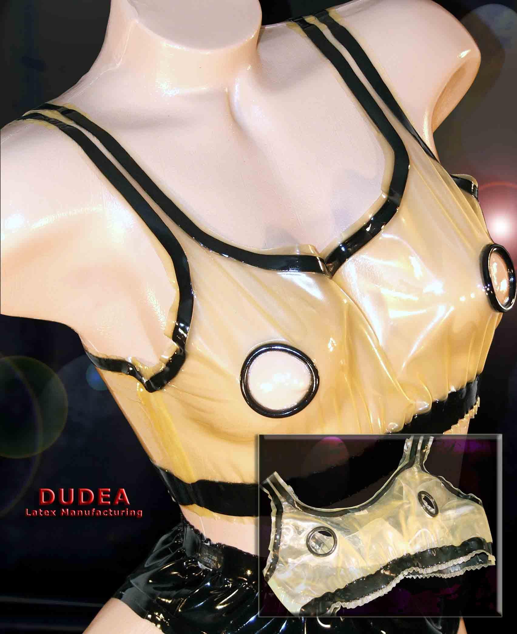 Rubber Latex Bra open at nipple