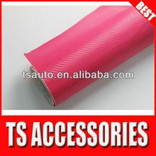 RoHS Certificate 1.52*30m air Free bubbles Big Texture Rose Red car wrap 3d carbon