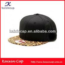 Black Blank Snapback Cap Custom Leopard Flat Brim Baseball /Hip Hop Hat