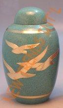 Brass Cremation Urn, Going Home Birds Funeral Urns