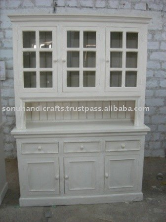 DISTRESS CABINET, PAINTED CABINET, COUNTRY HUTCH, RUSTIC GLASS CABINET, WHITE WASH HUTCH