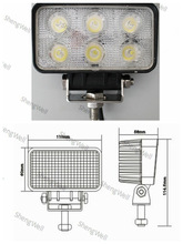 "18W 9--32V Rectangle LED working light 3.5"" IP67 factory directly Epistar led work light led clamp work light"