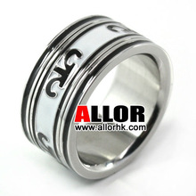 Fashion Stainelss Steel Pattern Design Enamel Band Ring
