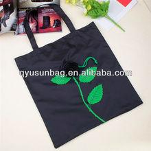 Black Rose Flower Design Reusable Shopping Bag