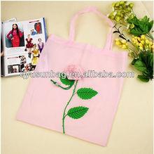 Pink Rose Flower Design Reusable Shopping Bag