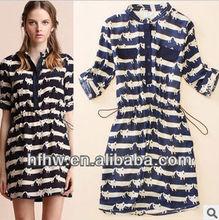 European and American women's cat collar sleeve dress waist chiffon dress