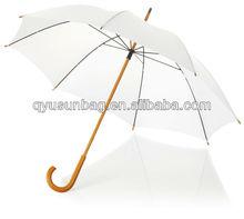 Promotion white stick umbrella wooden shaft