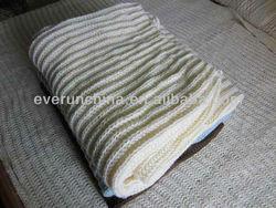 50CZ72 100%Acrylic Sweater knit blanket throw rib edge with faux fur back