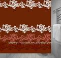 tejido de poliéster de color rojo y blanco de grano chino cortina de la ducha