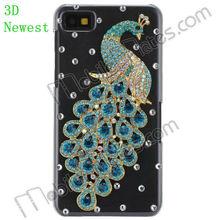 3D Phone Case for BlackBerry Z10, Shinning Diamond Peacock Design Transparent Cover for BlackBerry Z10