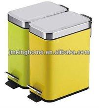 green steel square foot pedal waste bin