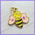 Pink heart gold wing trabalhoso abelha pingente charme #17496