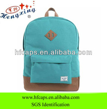 European style cotton fabric custom plain school bags and backpacks