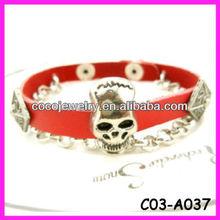 2013 Jewelry wholesale High quality fashion beautiful Bangles leather bracelet skull