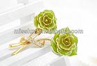fashion gold crystal flower brooch jewelry,enamel double color big flower brooch garment accessories