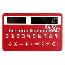 Red mini slim/thin credit card pattern solar powered pocket calculators for promotional-IMC-JJJSQ-002481