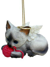 customized Angel Kitty Siamese With A Ball Of Yarn Ornaments