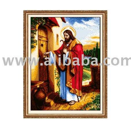 Иисус стучится в дверь вышивка