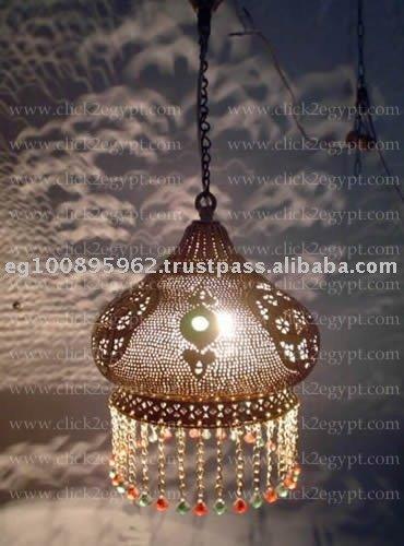Brass Handmade Art Beaded Hanging Lamp Shade