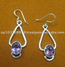 Amethyst Semi Precious Earrings