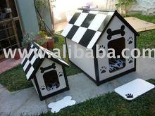 white and black big and medium dog house