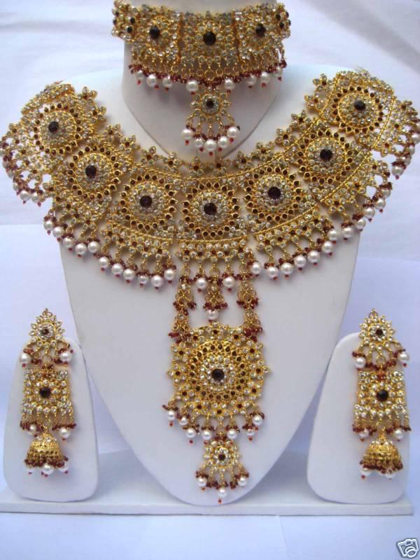 Bollywood Bridal 4PCS Indian Kundan Necklace Set - Appo k gifts