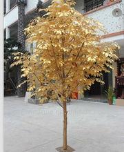 SJ 2013 hot sales artificial mini banyan tree,golden leaves for decoration