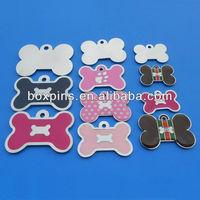 metal bone shape printing custom logo current mold dog ID tags